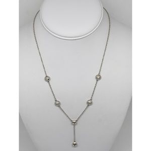Sonia B Sterling CZ Station Lariat Necklace